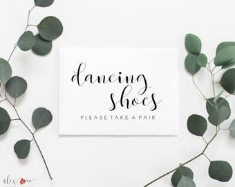 Dancing Shoes Sign Printable. Wedding Dancing Shoes Sign. Wedding Dancing Slippers. Wedding Flip Flop Sign. Wedding Flip Flops For Guests.