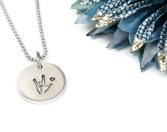 I Love You Hand Stamped Necklace | ASL Necklace | ASL Jewelry | American Sign Language Gift | Interpreter Gift | Aluminum Jewelry