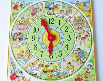 Toy Clock, Wood Puzzle, English Toy, Educational Toy, Jigsaw Puzzle, British Illustration, Retro Clock, Teaching Aid, Kids Room, Mid Century