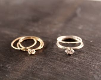 Herkimer Diamond Ring Stacking Set (Gold Sterling Silver Rose Gold Raw Quartz April Birthstone  Gifts for her Under 75)