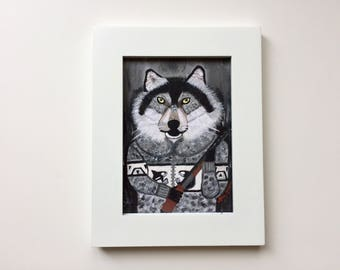 "Wolf Art Print 5""x7"", ""Wolf Hunter, Animals Fighting Back! /Grey Wolf Art/Gray Wolf Portrait/Grey Wolf Print by Amy Tom"