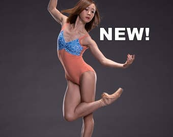 """NEW!! Amanda - *PRINTS* Custom Deep """"V"""" Pinch Front TANK Leotard with Print Top, Mesh Straps/Back, and Solid Bottom"""