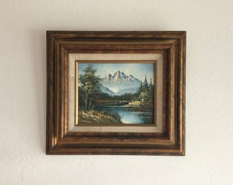 """original vintage oil painting, landscape, on wooden board river from the 80's size 15.5"""" x 17.5"""" handmade mountains traditional art frame"""