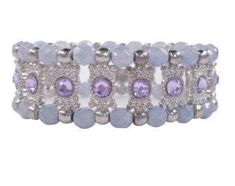 Stretch Bracelet Swarovski Crystals Lavender Antique Silver/Unique Jeweled Bracelet/Wedding Bridesmaid/Costume Jewelry/Art Deco/Wide Large