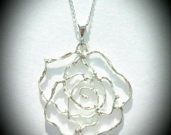 NEW! Handmade Delicate .999 Fine Silver Cut-Out ROSE Pendant Necklace w/ Sterling Silver Bail & Sterling Silver Chain *Optional Pendant only