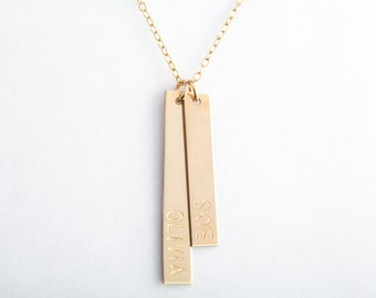 "Two Vertical Bar Necklace, Long and Classic Bar, 1.50"" + 1.25"", Gold Filled, Sterling Silver, Rose Gold Filled"