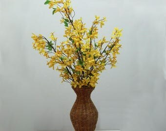 Mother's Day, Spring Flowers, Wicker Vase, Home Decor, Yellow Flowers, Floral Arrangement, Silk Flowers, Table Arrangement, Fake Flowers