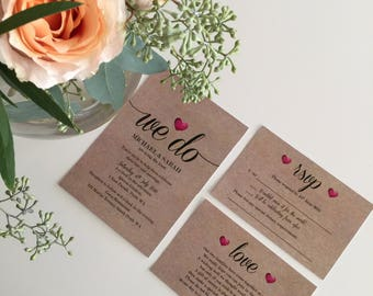 Custom Printable Wedding Invitation Set - 'We Do Heart' Design