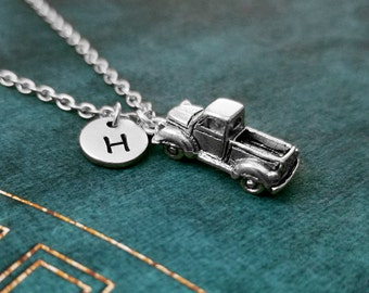 Truck Necklace SMALL Truck Jewelry Trucker Gift Trucking Car Necklace Truck Charm Necklace Personalized Jewelry Initial Necklace Pendant