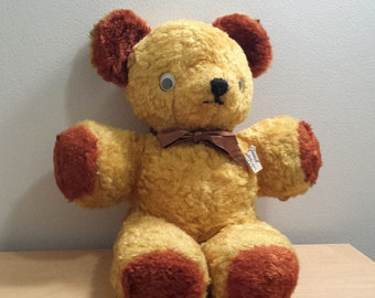 Vintage Gund Musical Teddy Bear, Twinkle Twinkle Little Star, Gold and Brown with a Bow Tie, Cubbi Bear, stuffed animal
