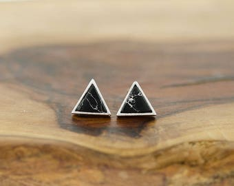 925 Sterling Silver Black Marble Howlite Triangle Studs Earrings