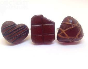 Chocoholic rings from the  mini chocolate collection, chocolate tray pieces on adjustable ring base for lovers of all things chocolate!