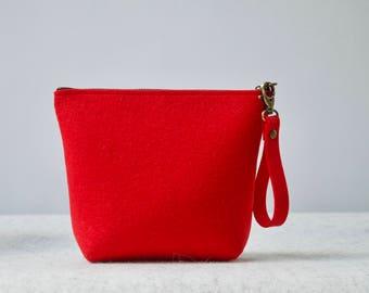 Sarah's Felt Pouch, Travel Bag, Cosmetic Bag, Makeup Pouch, Zipper Handbag, Zipper Pouch, Felt Bag
