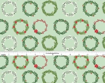 Christmas Wreath Fabric, Riley Blake Fabric, Comfort and Joy C6263, Christmas Quilt Fabric, Dani Mogstad My Minds Eye, Cotton