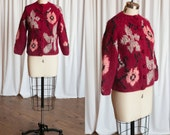 Amaryllis cardigan   vintage 60s cardigan   red mohair sweater   1960s wool angora mohair cardigan   Made in Italy   red vintage 60s sweater
