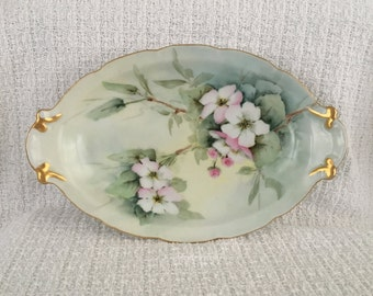 Victoria Austria Oval Serving Dish, Handled Oval Dish, Floral Porcelain Dish, Gold Trim, Relish Dish,Jewelry Dish, Trinket Dish, Vanity Dish