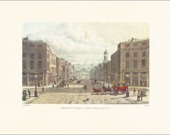 London Regent Street from Piccadilly victorian city architecture Great Britain England vintage print coloured engraving 7 x 9.25 inches