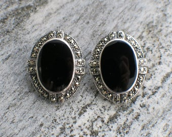 Sterling Silver Black Oval and Marcasite Earrings