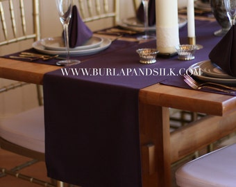 Plum Table Runner 14 X 108 inches | Eggplant Wedding Table Runners, Aubergine Runners, Dark Purple Table Runners for Hotels and Restaurants