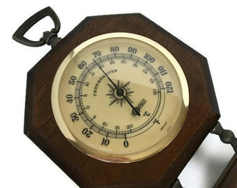 Weather station 1970s Springfield temperature barometer humidity gauge