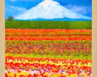 Oregon Poster - Mt Hood Print - Tulips Print - Portland Poster Pacific Northwest  Wall Art Home Decor #vi770