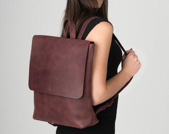 Women Leather Backpack, Burgundy Leather Rucksack. Ready to ship!