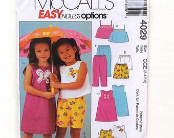 McCall's Toddler Tops, Dress, Shorts & Pants Sewing Pattern #4029 - UNCUT - Size 3+4+5+6 (Breast 23+24+25+26)
