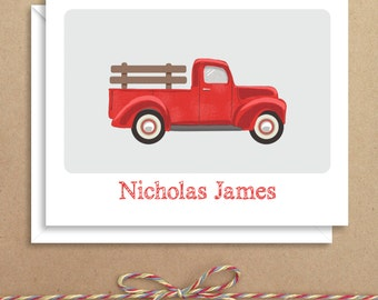 Truck Note Cards - Folded Note Cards - Personalized Children's Stationery - Thank You Notes - Illustrated Note Cards