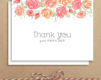 Rose Note Cards - Bridal Folded Note Cards - Bridal Stationery - Bridal Shower Thank You Notes - Illustrated Note Cards
