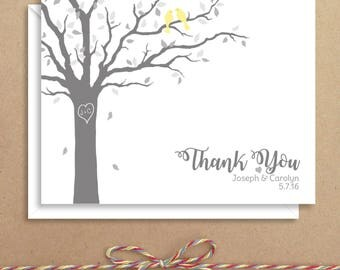 Love Birds in Tree Note Cards - Bridal Folded Note Cards - Bridal Stationery - Bridal Shower Thank You Notes - Illustrated Note Cards