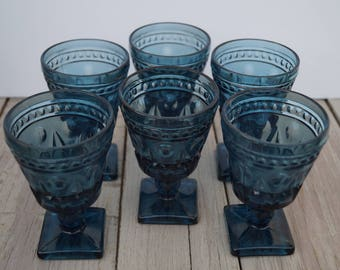 Indiana Glass Dessert/Fruit Cups - Colonial Blue Set of 6