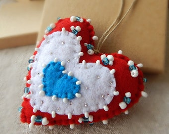 Handmade Christmas tree ornament.Unique felt heart ornament..Felt heart double-sited.Valentine gift.