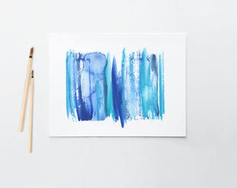 Blue Contemporary Art Watercolor Painting Original Abstract Art Print  - Stripe 2