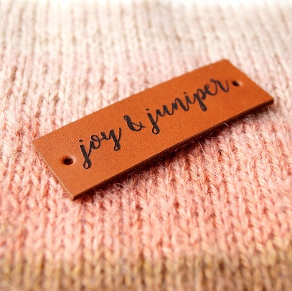 Knitting Labels Custom : Pesonalized leather labels knitting custom made