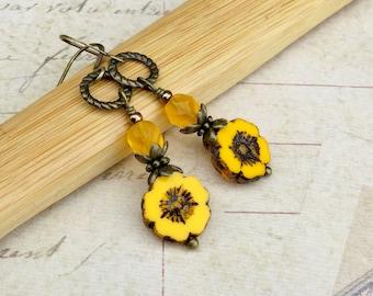 Yellow Earrings, Flower Earrings, Pansy Earrings, Long Earrings, Yellow Jewelry, Czech Glass Beads, Antique Gold Earrings, Boho Earrings