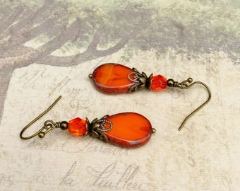 Orange Earrings, Victorian Earrings, Antique Gold Earrings, Czech Glass Beads, Unique Earrings, Womens Earrings, Victorian Jewelry, Gifts