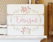 Custom Name Sign Nursery Wall Art Hand painted Flowers Shabby Chic Baby Girl Personalized Baby Gift Girls Room Pink Nursery Floral Decor