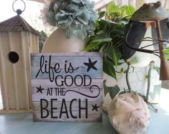"""Wood Beach Sign, Life is Good...at the Beach"""", Beach House Decor, Beach Lover Sign"""