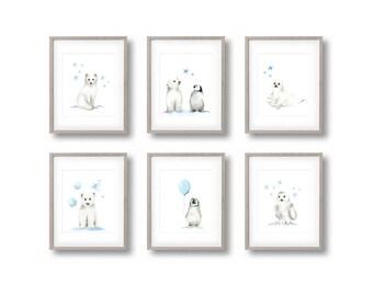 Arctic Nursery Art, Set of 6 Prints, Penguin, Polar Bear, Arctic Fox, Snowy Owl, Blue, Gender Neutral Baby, Baby Boy, Kids Art Prints