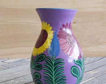 Vintage Mexican Pottery Folk Art Vase