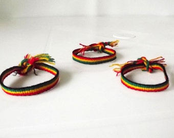 50 Rasta Wool Woven Thin Friendship Bracelets.