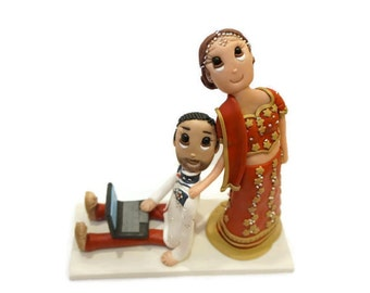 Custom India Wedding Cake Topper with Bride Dragging Groom on Laptop