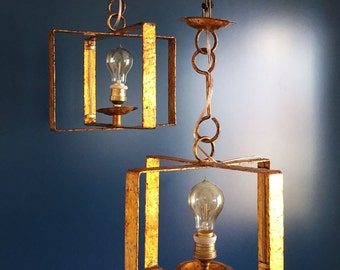 Beautiful and brutalist pair of ceiling lamps, gilt iron, midcentury 50s-60s.