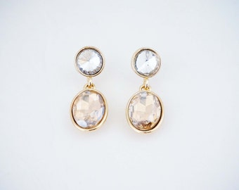 Crystal and Champagne Gem Post Stud Earrings