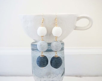 Grey Ombre Wrapped Bead Statement Earrings