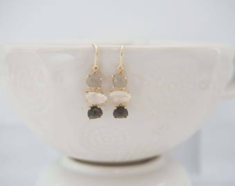 Gray Ombre and Gold Gem Earrings