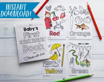 Colors Coloring Book PDF Download Sheets DIY Baby Shower Activity Babys
