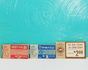 Vintage Set of Postage Stamp Booklets, 1960's Postage Stamps, 8 Cent Air Mail Stamps, 1 Cent Stamps, 5 Cent Stamps