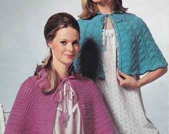 PDF bedjacket bed cape vintage knitting pattern bed jacket shoulder cape pdf INSTANT download 1970s