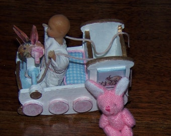 "Dollhouse Pink Furry Bunny Rabbit.  2"" Tall.  Easter!"